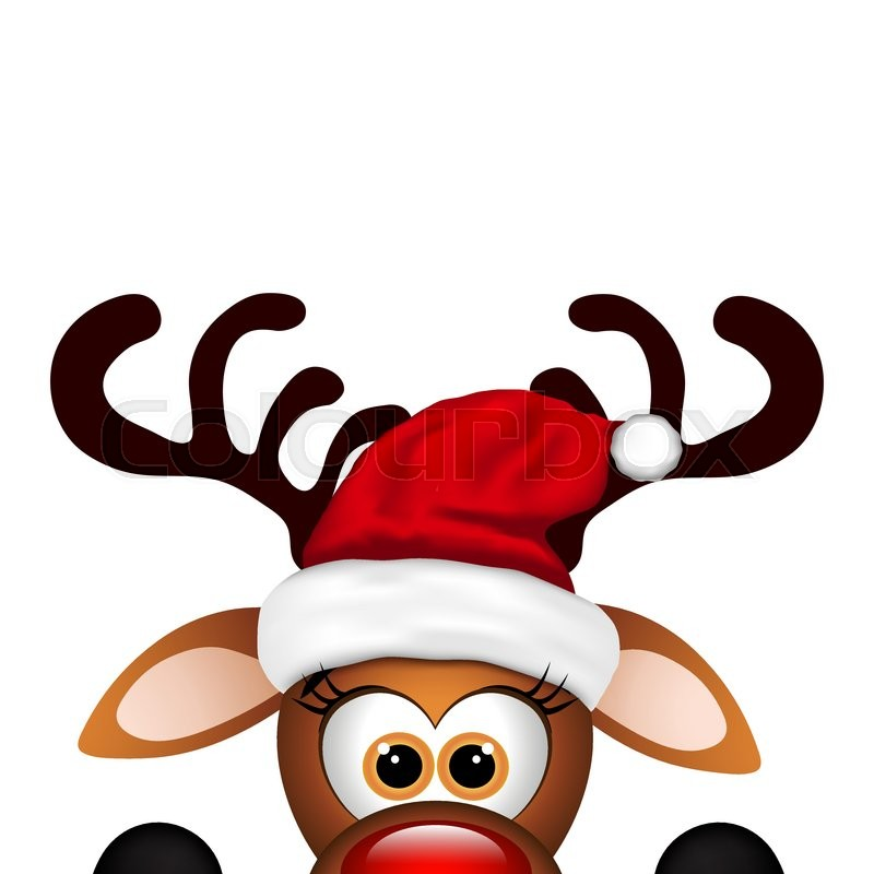 funny christmas reindeer on a white background stock vector