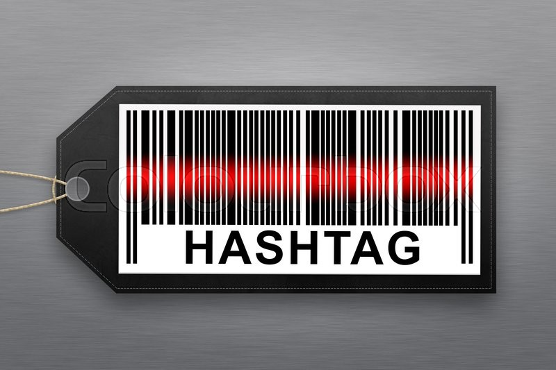 Stock image of 'hashtag barcode with stainless steel background'