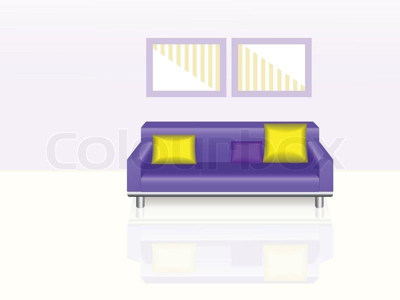 stilvolle lila couch mit gelben kissen und zwei gem lde vektorgrafik colourbox. Black Bedroom Furniture Sets. Home Design Ideas