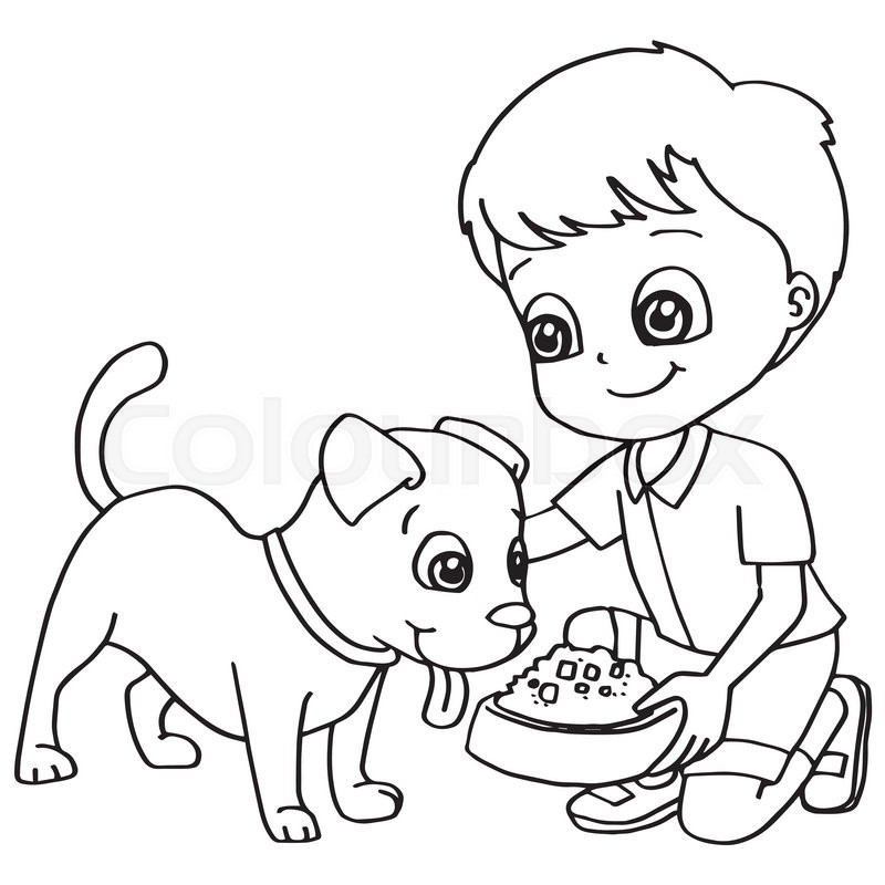 Image Of Coloring Book Child Feeding Dog Vector
