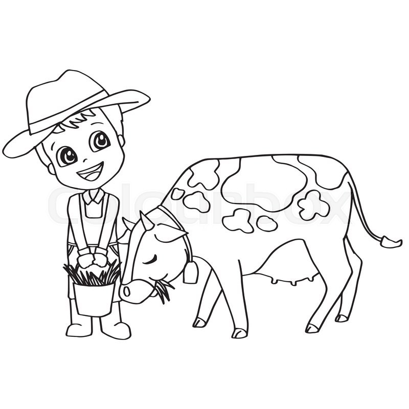Image Of Coloring Book Child Feeding Cow Vector