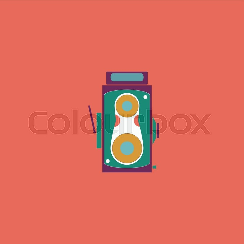 Professional Cinema Film Camera Colorful Vector Icon Simple Retro