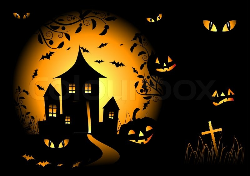 halloween night background vector illustration stock vector rh colourbox com Vector Blank Halloween Tag Halloween Background Templates