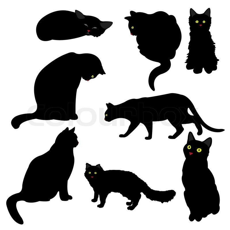 black cat silhouettes vector illustration stock vector. Black Bedroom Furniture Sets. Home Design Ideas