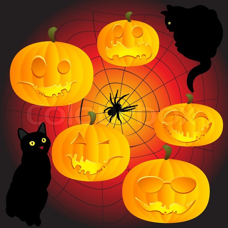 Group Of Halloween Pumpkins, Black Cats And Spider Web! | Stock Vector |  Colourbox