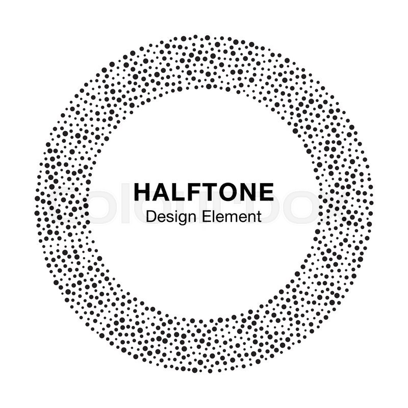 Black Abstract Halftone Frame Circle Dots Logo Design Element ...