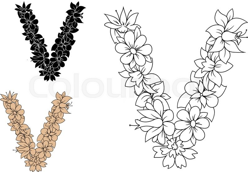 Floral lowercase decorative letter v composed by outline flowers floral lowercase decorative letter v composed by outline flowers in retro style for alphabet or font design stock vector colourbox altavistaventures Choice Image