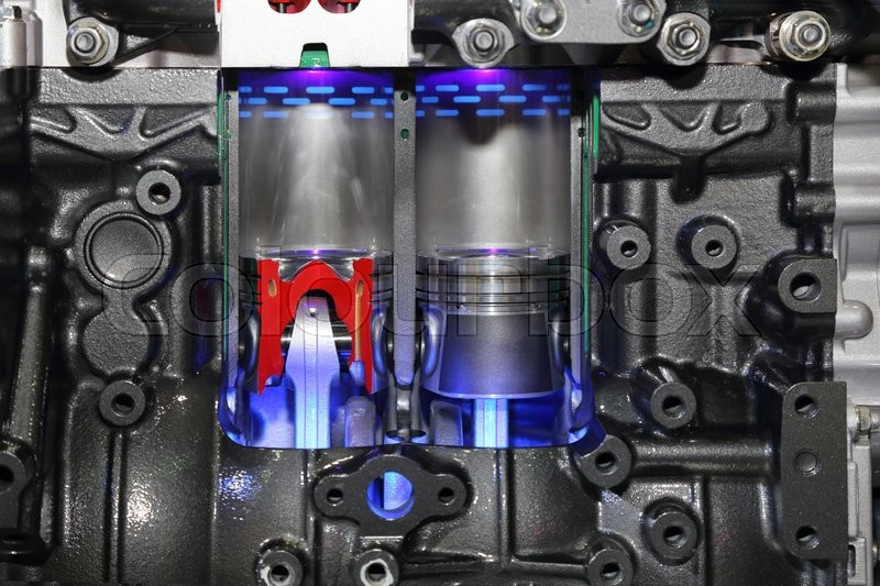 Closeup on part of the car engine, stock photo