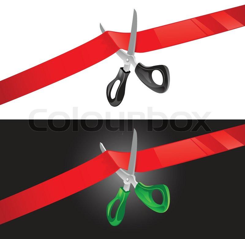 vector illustration of scissors cutting red ribbon stock