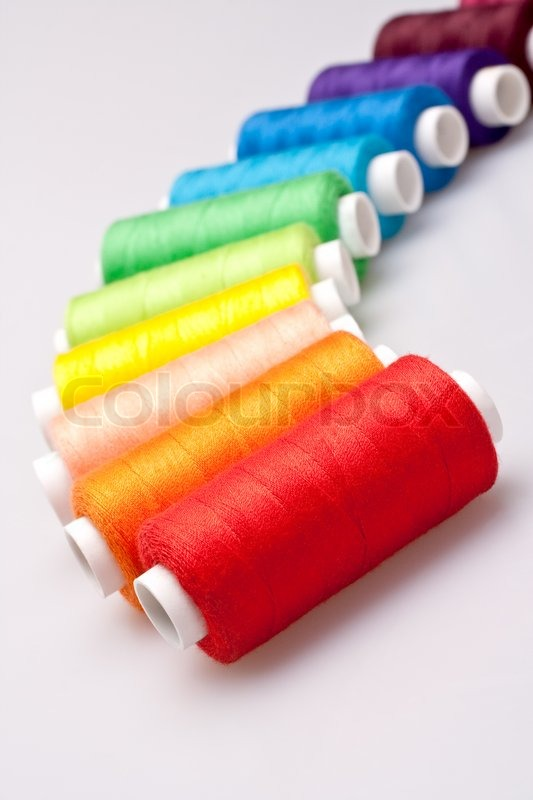 Multi Colored Rainbow Threads For Stock Photo