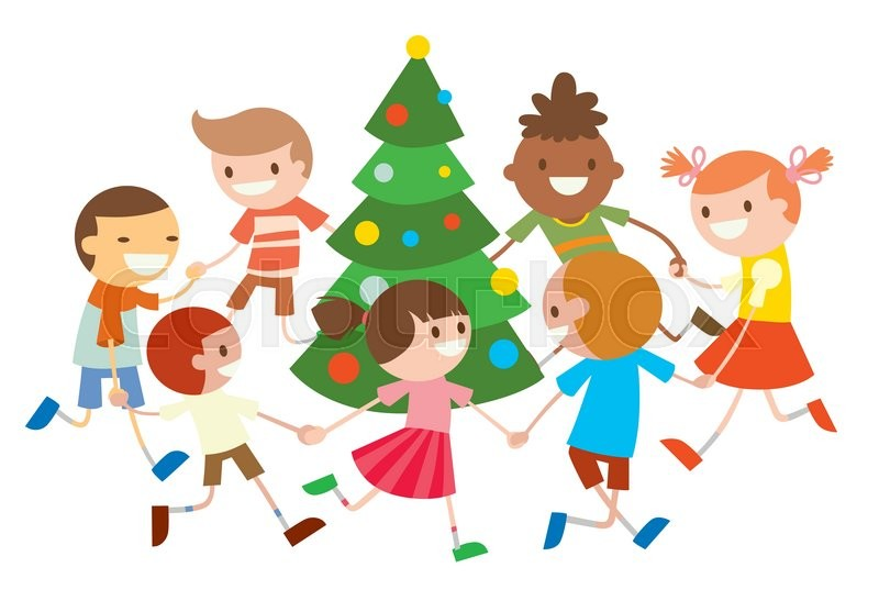 Christmas Party Images Cartoon.Children Round Dancing Christmas Tree Stock Vector