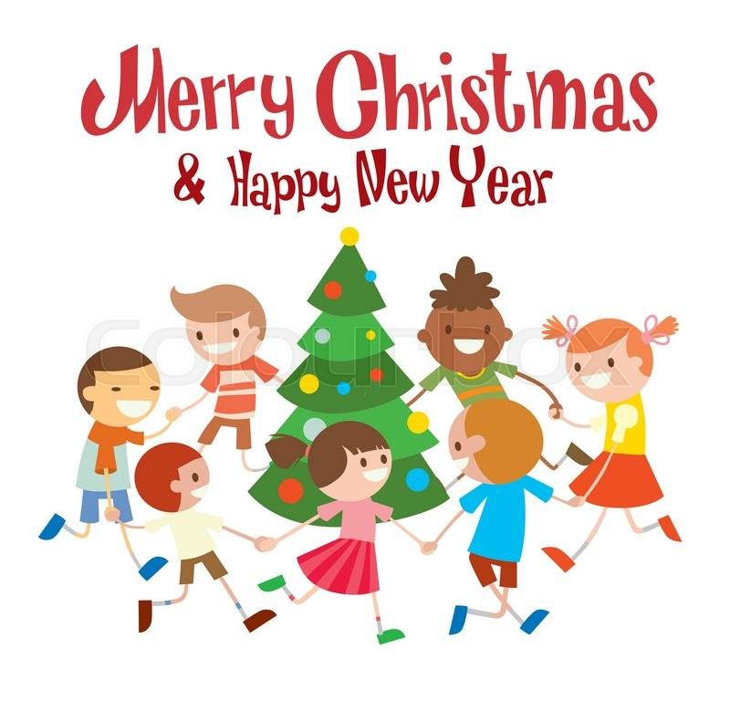 Children round dancing Christmas tree in baby club illustration ...