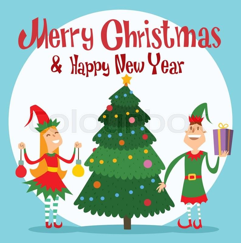 santa claus elf helpers children santa helpers traditional costume santa family elfs helpers kids santa claus elf christmas kids christmas card stock - Elf Christmas Card
