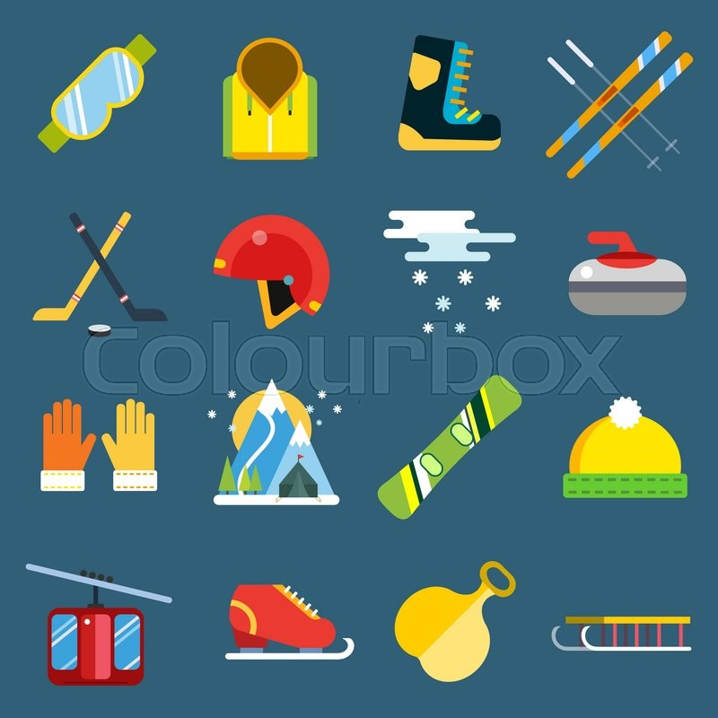 Winter sport vector icons set. Winter sport games icons pictograms. Winter sports icons flat design. Winter games sport icons isolated. Ski, sport, extreme sports, winter games, sport icons, snowboarding, winter clothes - Stock Vector - Colourbox - 웹
