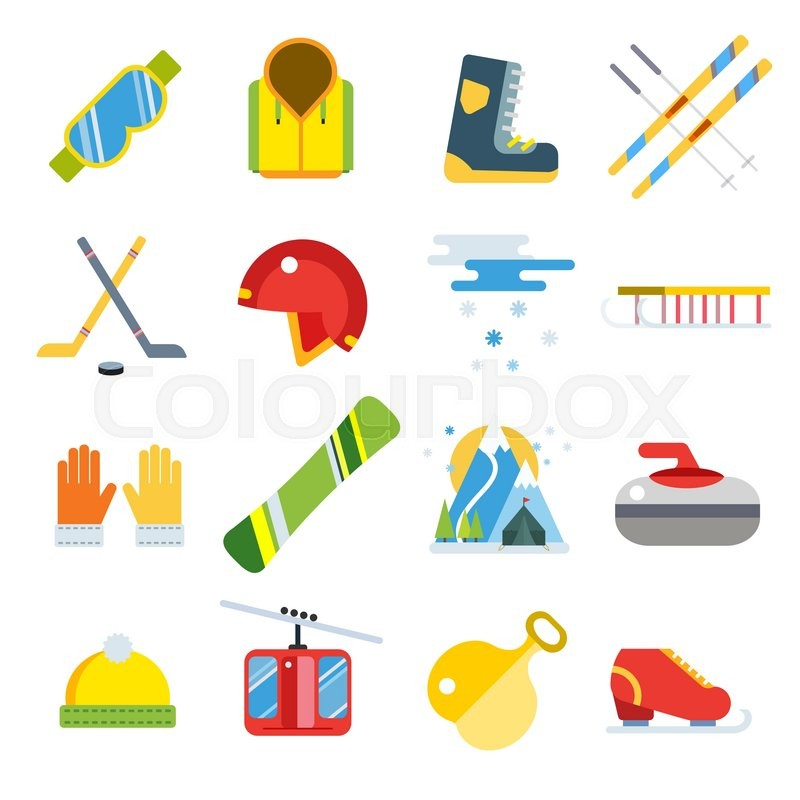 cfdf4264f0f6 Winter sport vector icons set. Winter ...