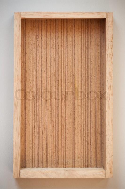 Wood box tray frim top view, stock photo