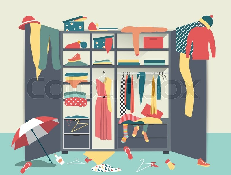 White Closet With Untidy Clothes Shirts Sweaters Boxes And Shoes Home Mess Interior Flat Design Vector Illustration