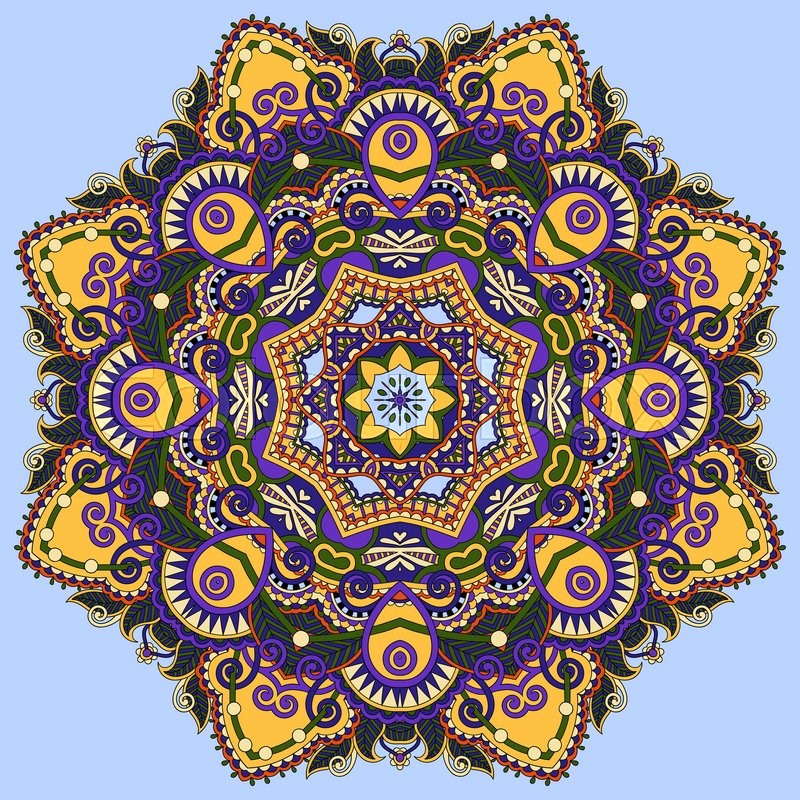 Colour mandala circle decorative spiritual indian symbol of lotus colour mandala circle decorative spiritual indian symbol of lotus flower round ornament pattern vector illustration stock vector colourbox mightylinksfo