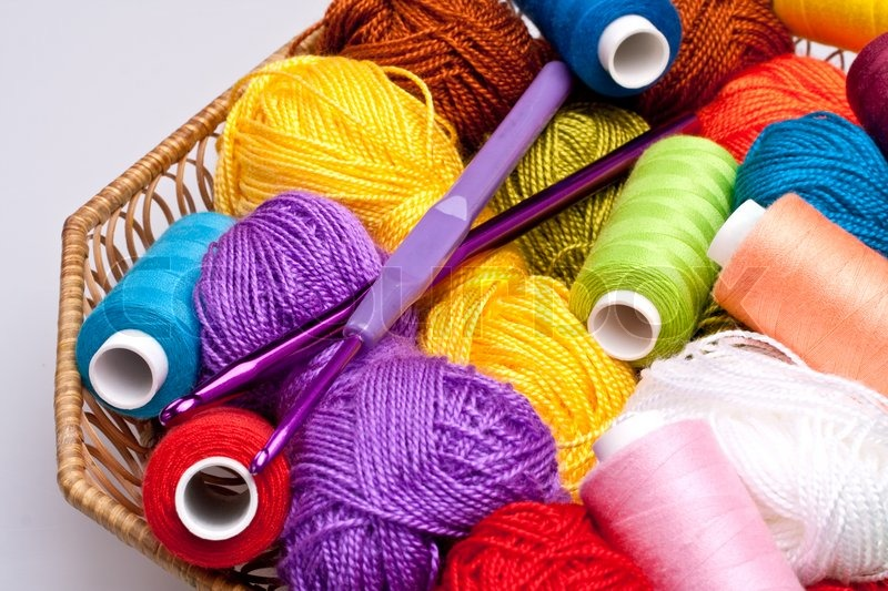 Threads And Fibers Mail: Basket With Thread And Balls For Knitting As A Background