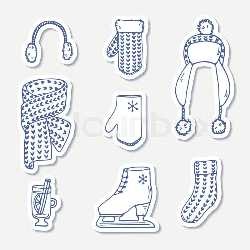 Set of winter stickers hand drawn outline knitted accessories cute hand drawn outline knitted accessories cute clip art vector illustration stock vector colourbox voltagebd Image collections