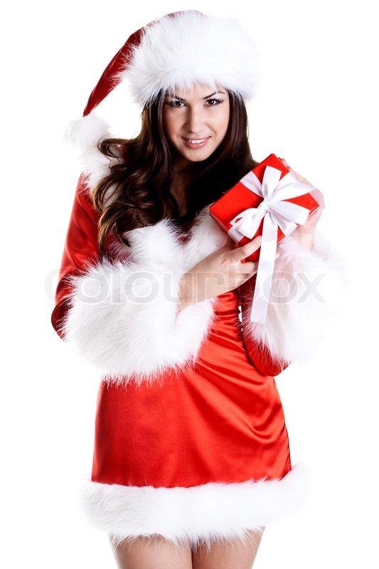 sch ne frau mit weihnachtsgeschenk auf wei em hintergrund. Black Bedroom Furniture Sets. Home Design Ideas
