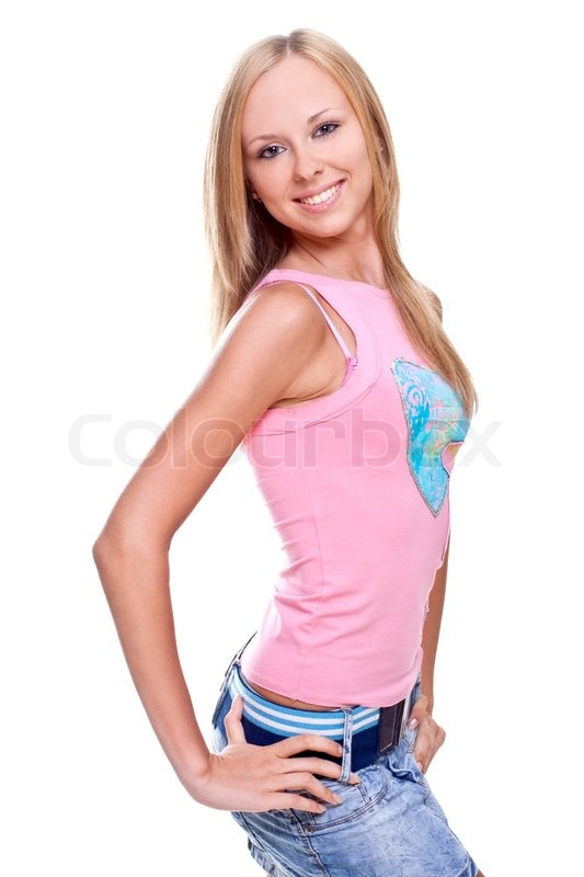 Stock image of 'Beautiful women in a jeans on a white background'