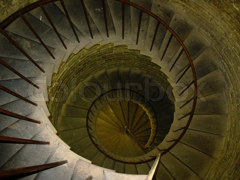 Circular Tower Staircase : Old spiral spin stair in ancient tower stock photo