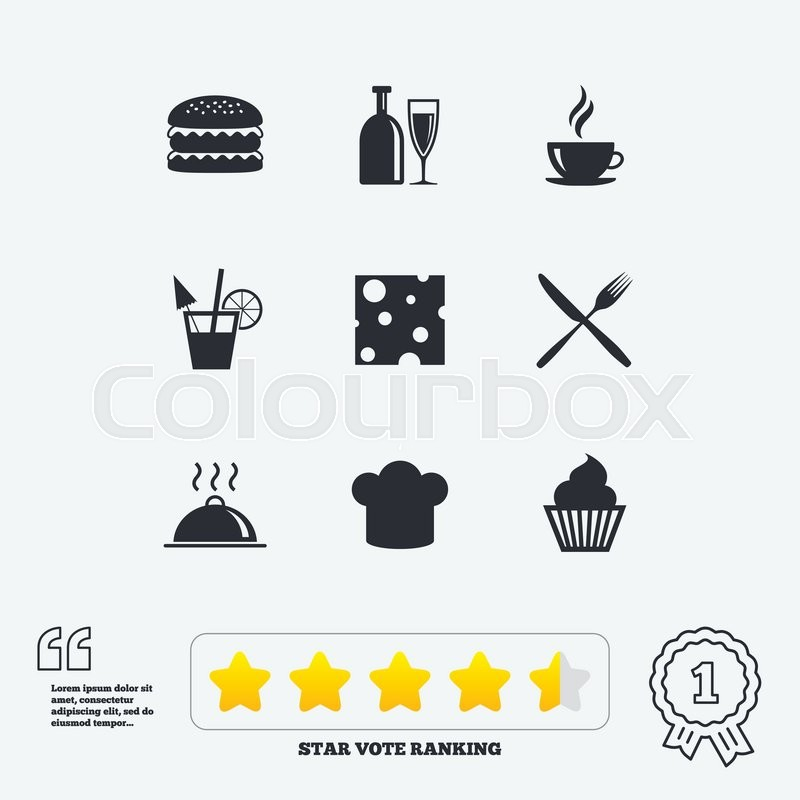 Food, drink icons. Coffee and hamburger signs. Cocktail, cheese and cupcake symbols. Star vote ranking. Award achievement and quotes, vector