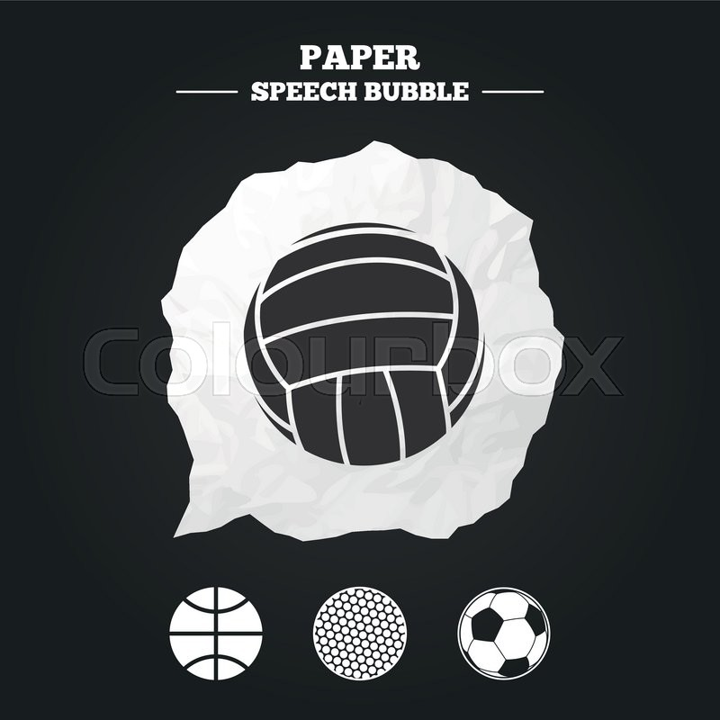 Sport balls icons. Volleyball, Basketball, Soccer and Golf signs. Team sport games. Paper speech bubble with icon, vector