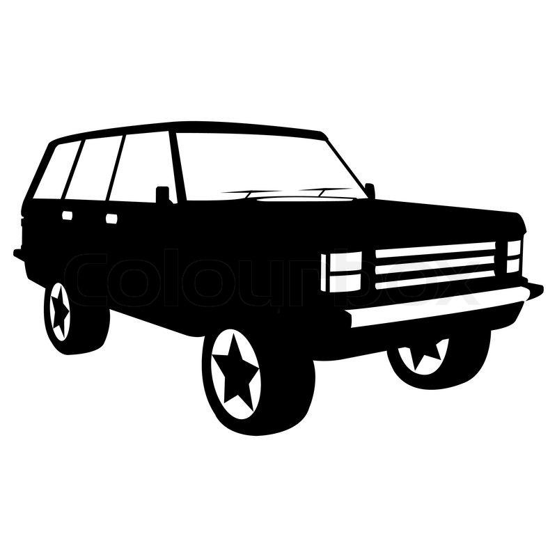 Schwarze Silhouette Der Stadt Jeep Stock Vektor Colourbox