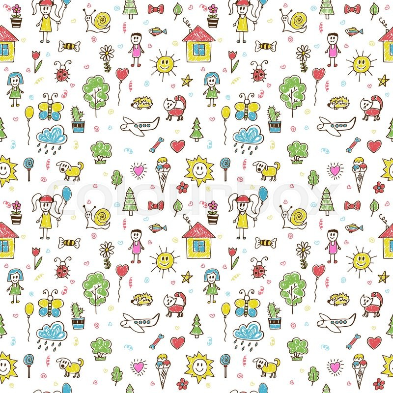 hand drawn funny children drawings color seamless pattern doodle children drawing background vector illustration stock vector colourbox - Children Color