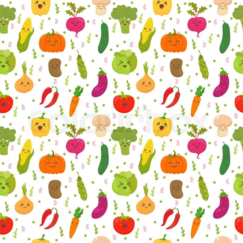 seamless pattern with funny vegetables cute background happy