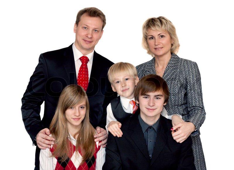 Merry Big Family Portrait On White Background Stock