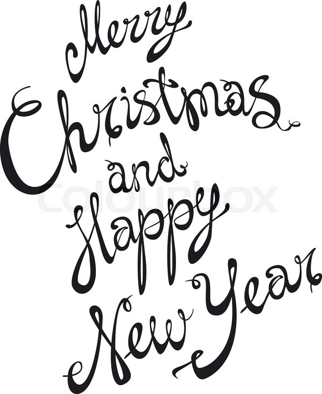 Merry Christmas and Happy New Year card with hand drawn lettering ...