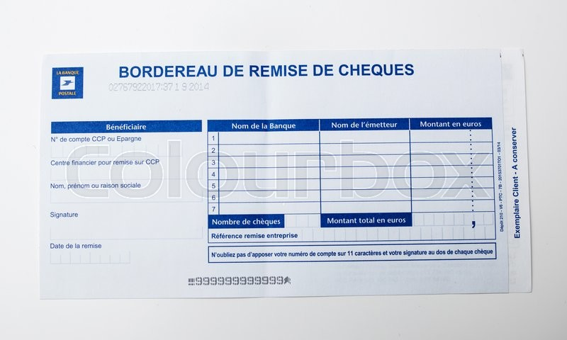 paris france january 14 2015 bordereau de remise de cheques on white background issued by. Black Bedroom Furniture Sets. Home Design Ideas