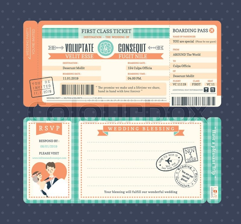 Pastel Retro Boarding Pass Ticket Wedding Invitation Template ...