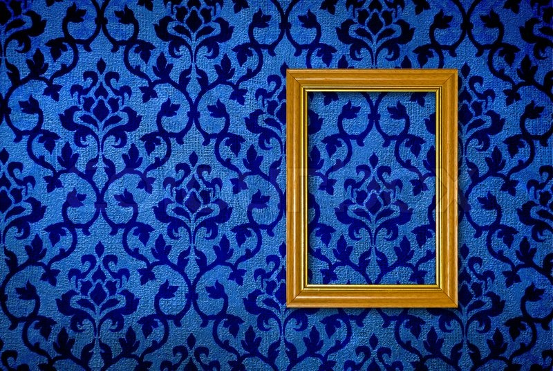 Gold frame on a vintage blue wall background | Stock Photo ...