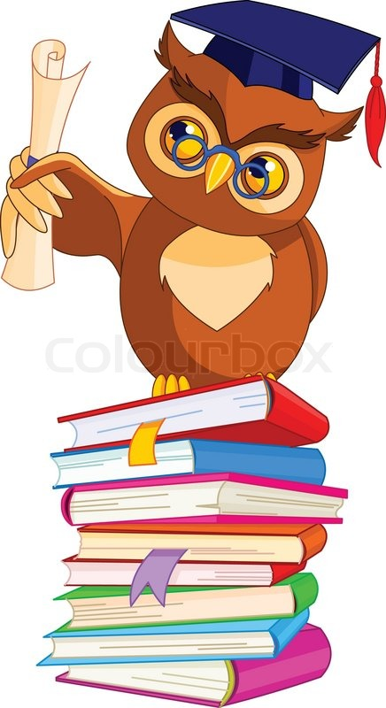 illustration of a cartoon wise owl with graduation cap and Owl with Glasses and Book Clip Art Owl with Bow Clip Art