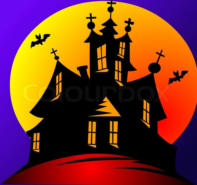 Illustration house on background of the moon and stars on holiday ...
