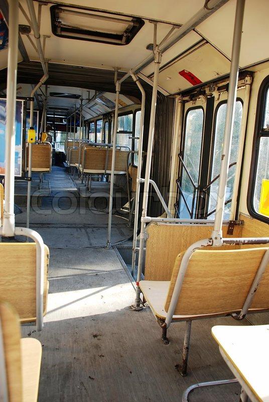Antique Bus Seats : Old empty city public bus interior wooden seats stock