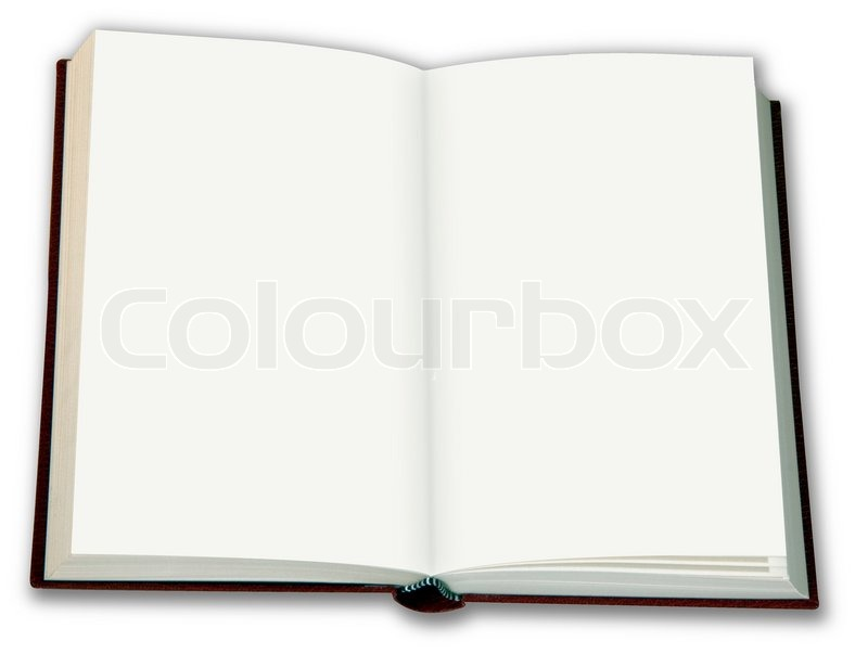 Stock image of 'Open book with white blank pages to write on'