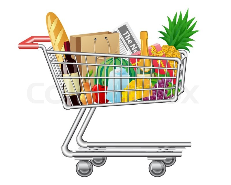 shopping cart with purchases and foods vector illustration stock rh colourbox com Groceries Clip Art Clip Art Grocery List