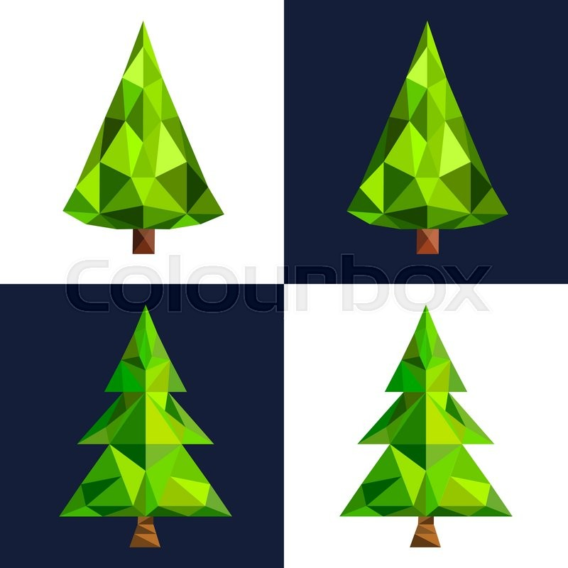 Christmas tree flat 3d lowpoly pixel art icon. Christmas triangle ...