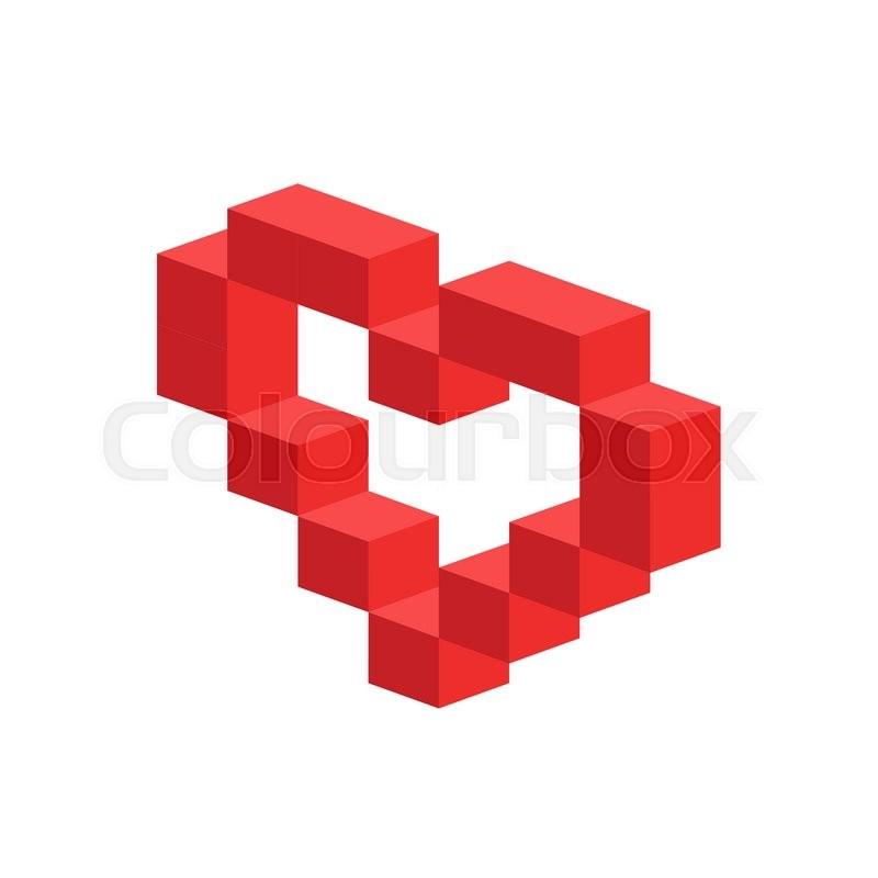 Heart Vector 3d Isometric Icon Heart Logo Heart Shape
