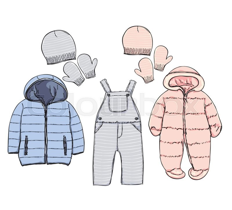 hand drawn winter clothes vector set for baby stock vector colourbox