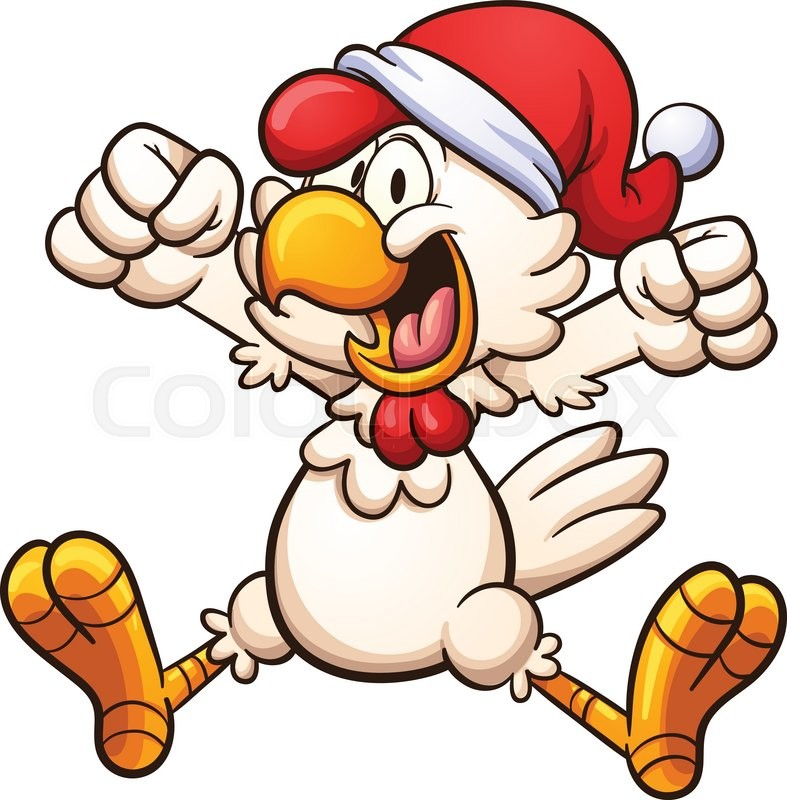 happy chicken with a christmas hat vector clip art illustration rh colourbox com christmas cartoon clipart off christmas cartoon characters clipart