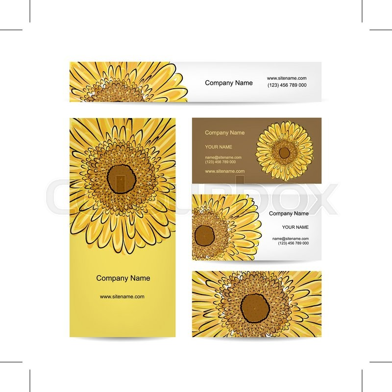 set of creative business cards sunflower design vector illustration stock vector colourbox