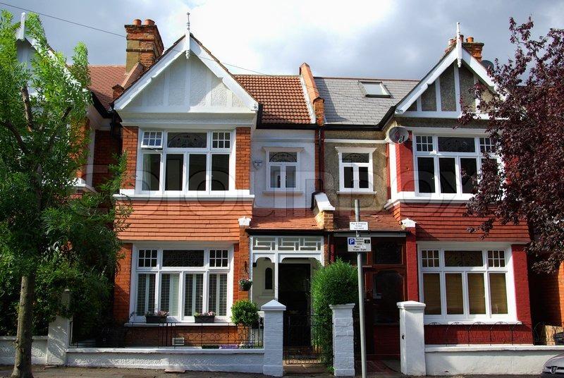 Cosy English Houses In Wimbledon London Stock Photo