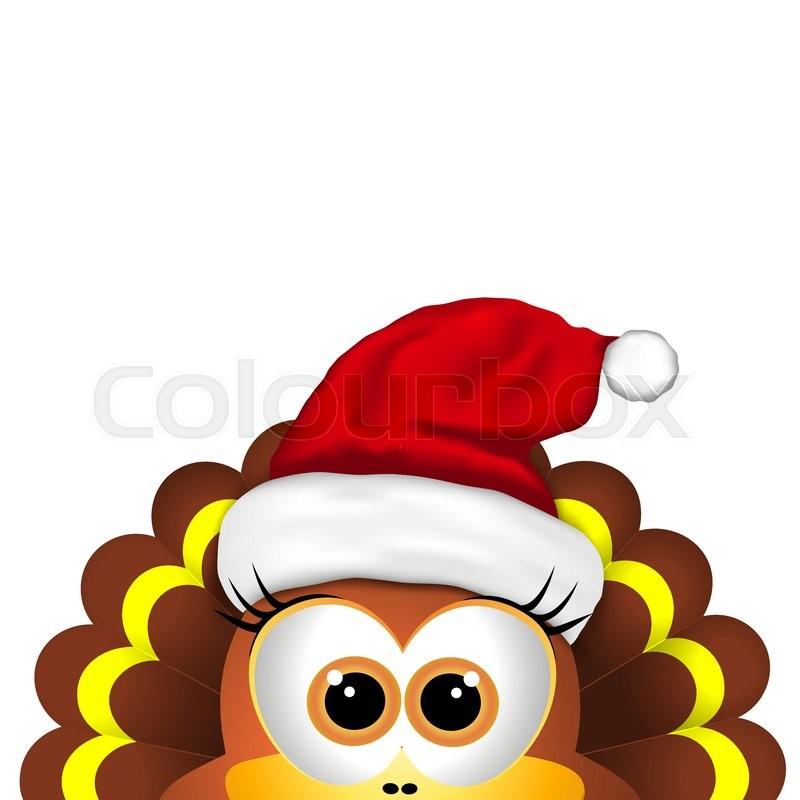 Christmas Hat Cartoon.Cartoon Turkey In Santa Hat Card For Stock Vector
