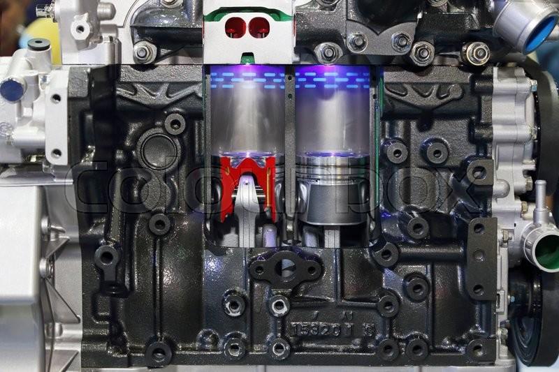 Closeup on part of car engine, stock photo